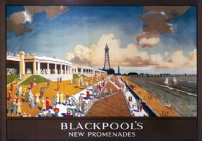 Blackpool Promenade, Lancashire. Vintage LMS Travel Poster by Chesley Bonestell